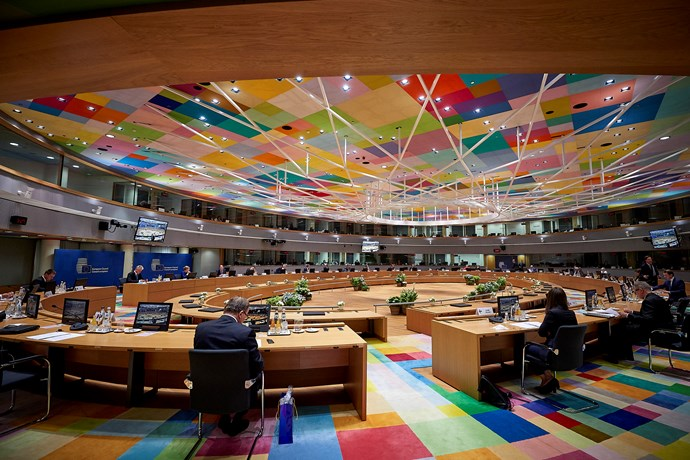 The EU leaders meet in the Europa buildning in Brussels.